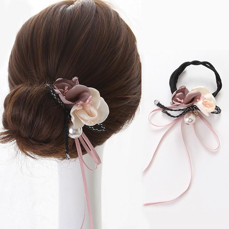CHIMERA 2Pcs Flower Hair Bun Maker Pearl Crystal Magic Bun Pin Headwear Donut Maker Fashion Rhinestone Hair Accessories Hairband in Women 39 s Hair Accessories from Apparel Accessories