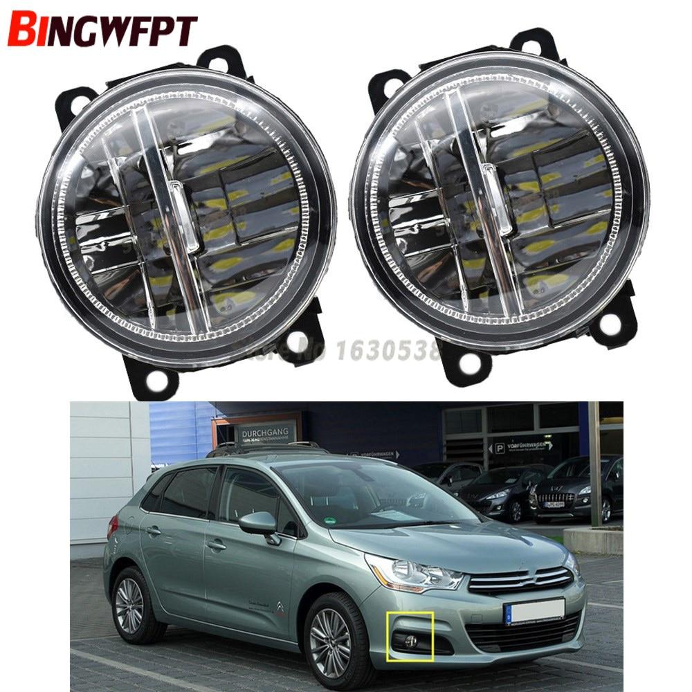 2pcs/Left + Right White LED Fog Lights For Citroen C3 C4 C5 C6 C-Crosser JUMPY Xsara 1999-2015 Fog Lamp Assembly H11 12V