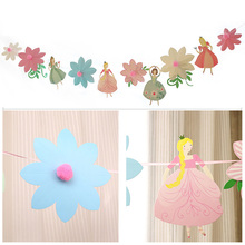 Stereoscopic Flower Princess Happy Birthday Decoration Garlands Candy Bar Party Decor Wreath Slingers Bunting Babyshower Wedding все цены