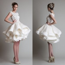 New 2014 Princess Knee Length Layered Organza Ruffles Wedding Gowns Appliqued Sheer Back Short Dress