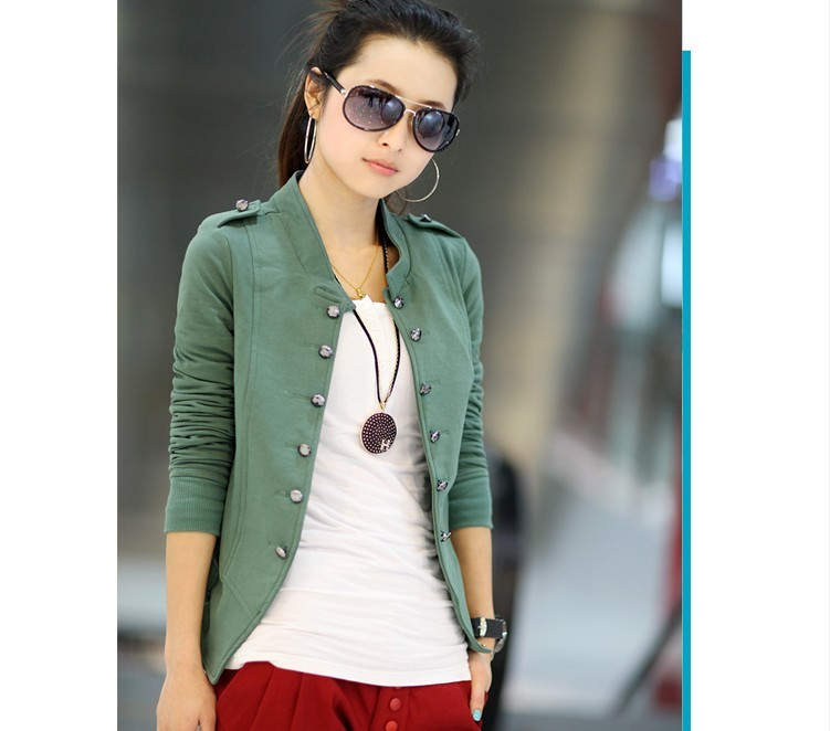 2020 Spring Long Sleeves Solid Jacket Women New Fashion Cardigan Coat Stand-collar Cotton Blended Double Breasted Coat Jacket