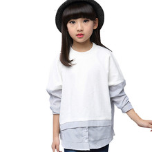 Children Blouses For Girls Clothing O Neck Girls Shirts Teenage School Clothes 6 7 8 9 10 11 12 13 14 Years Kids Tops girls dress striped sleeveless ruffles kids dresses o neck tops tank children clothes summer 2018 size 9 10 11 12 13 14 years