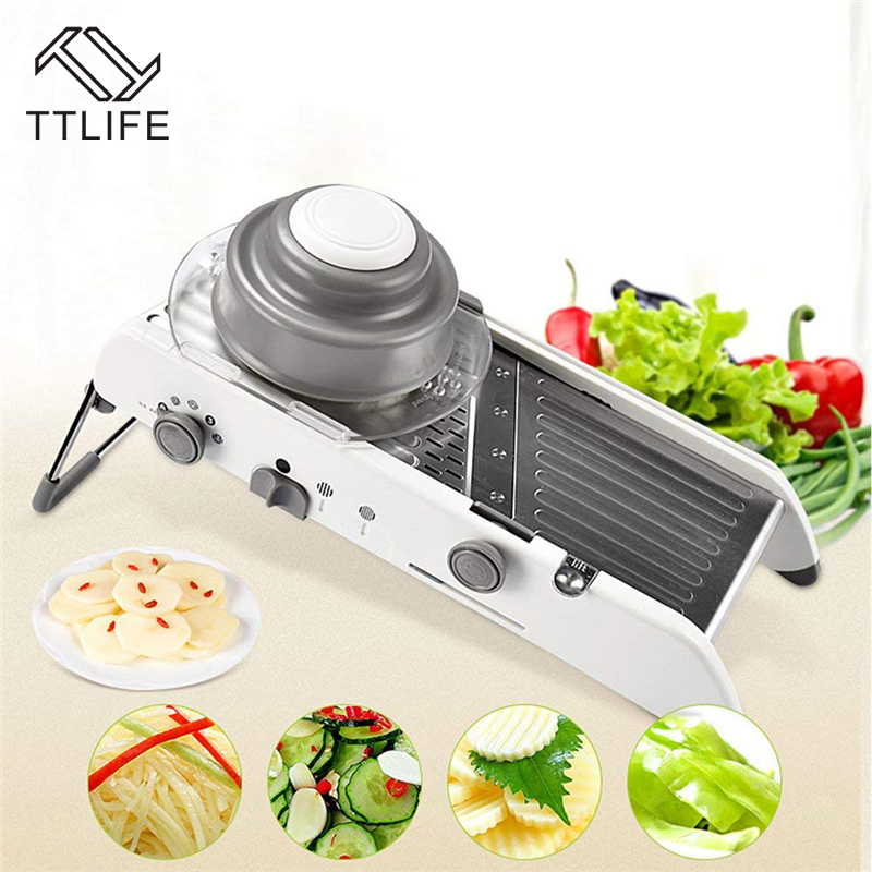 TTLIFE Adjustable Mandoline Slicer Professional Grater with 304 Stainless Steel Blades Vegetable Cutter Kitchen Accessories smart multifunctional mandoline slicer