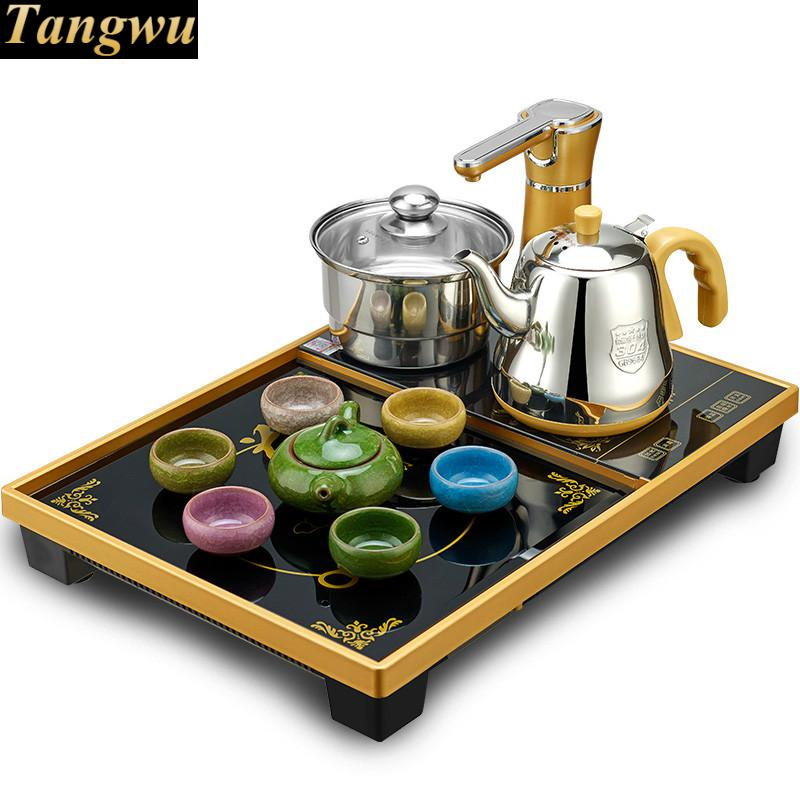 Automatic upper water electric kettle tea set, home electromagnetic stove table tray Anti-dry Protection wholesale tea natural bamboo tea tray 35 24 6 fu water storage type tea festival gift custom logo