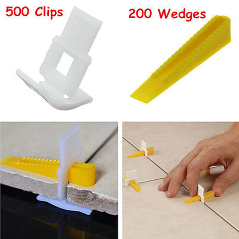 New 500 Clips With 200 Wedges Tile Leveler Spacers Lippage Tile Leveling System Tool For Construction Tools thyssen parts leveling sensor yg 39g1k door zone switch leveling photoelectric sensors