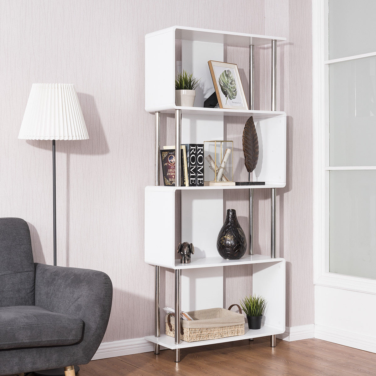bookshelf in living room storage table for giantex industrial style 4 shelf modern bookcase display unit white home furniture hw56698 bookcases from on