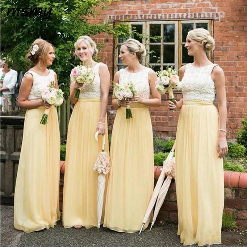 2019 Lace Top A-Line Long   Bridesmaids     Dresses   Chiffon Floor Length Vestidos De   Bridesmaid   Prom Party Gowns Spring Cheap Custom