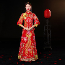 2018 New Phoenix Embroidery Cheongsam Chinese Traditional bride Wedding Dress Women red qipao Long Evening Dress