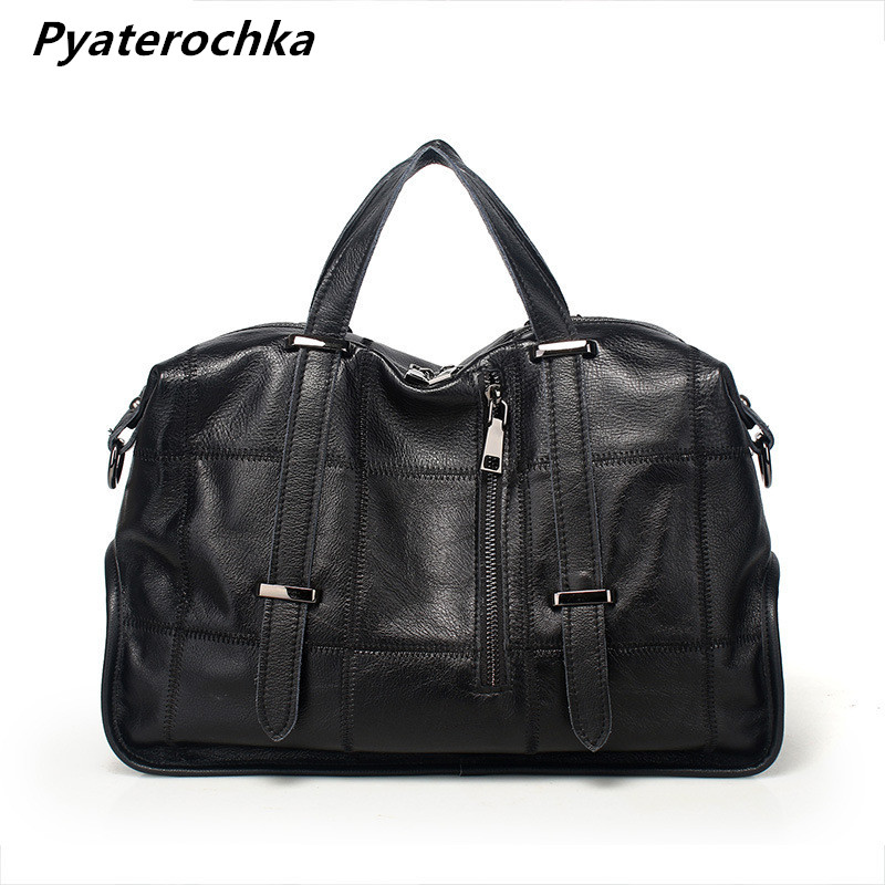 Pyaterochka Handbag Genuine Leather Bags Ladies Big Shoulder Bag Large Women Handbags High Quality Fashion Moto Bike Casual Tote female handbag bag fashion women genuine leather cowhide large shoulder bag crossbody ladies famous brand big bags high quality