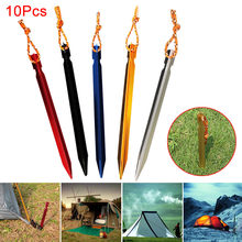 Hot 10 Pcs Tent Peg Nail Aluminium Alloy Stake with Rope Camping Equipment Outdoor Traveling Supplies MCK99(China)