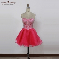 Robe cocktail2017 sexy sweetheart crystal fluffy rose red cocktail dress mini real photo vestido coctel
