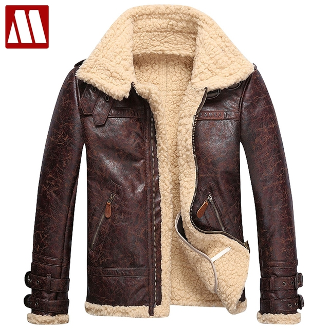 Brand Fashion Mens Vintage Leather Jackets Faux Lamb Fur Fleece Bomber Flight  Jacket Male Winter Warm e2619ca388f