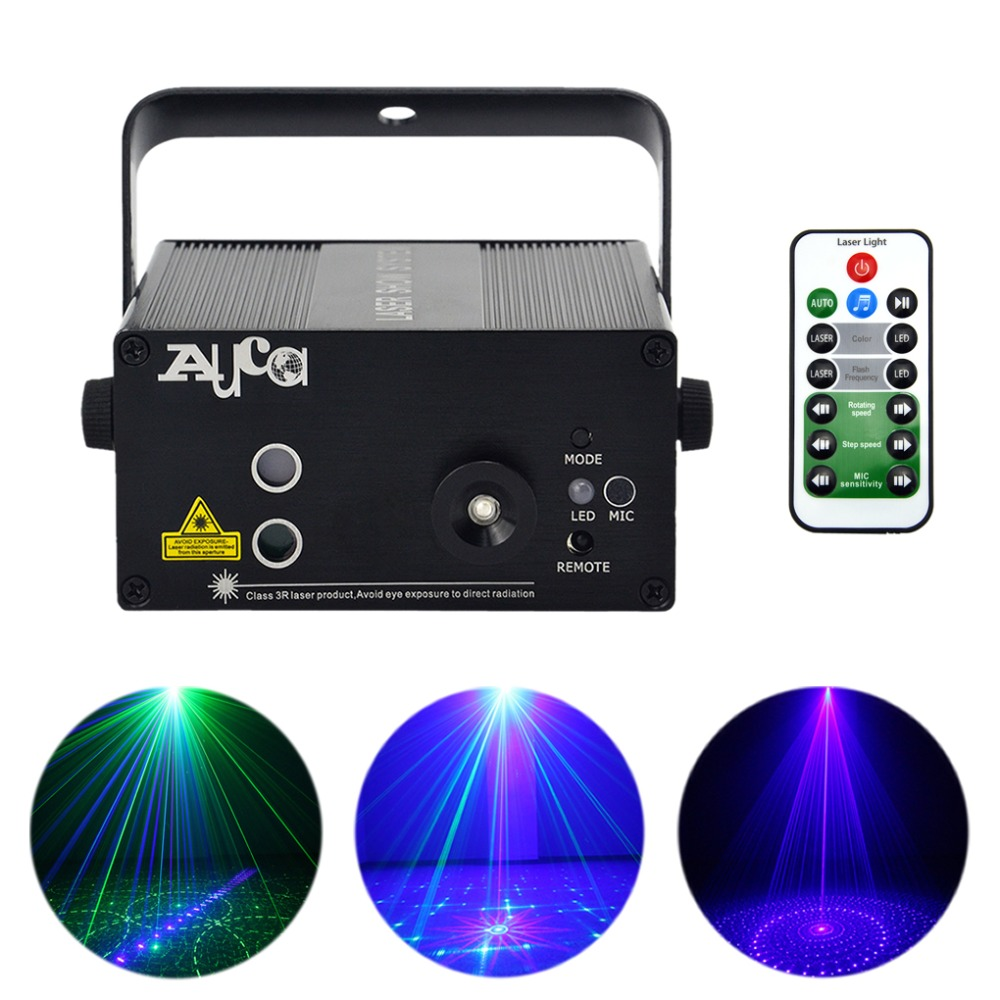 AUCD Mini Remote 18 Pattern GB Laser Projector Lights 3W Blue LED Mixing Cross Effect DJ KTV Home Party Stage Lighting L18GB все цены
