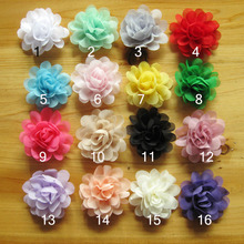 цены Hot Sale!64pcs/lot 16colors 5cm satin chiffon flowers for baby girls headbands hairband hair ornament children hair accessories