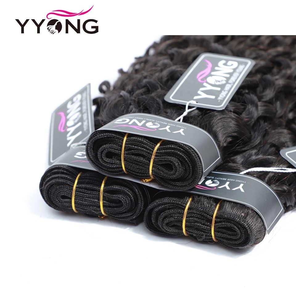 Yyong cabelo 3 pacotes ofertas tecer cabelo brasileiro pacotes onda de água extensões do cabelo cor natural pode ser tingido 100% remy do cabelo humano