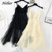HELIAR Maxi Feathers Spaghetti Dress Elegant Evening Party A Line Layers Dress Summer Women Veils Solid Long Dress Femme