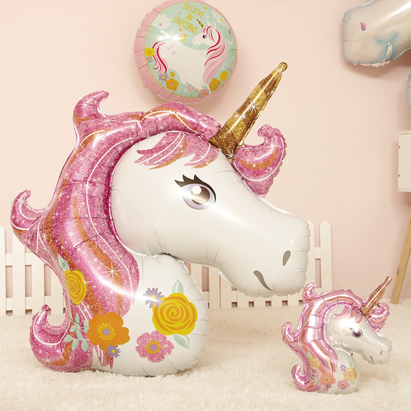 Babys full moon for a hundred days Childrens day adult birthday party decoration Unicorn cartoon pony balloons