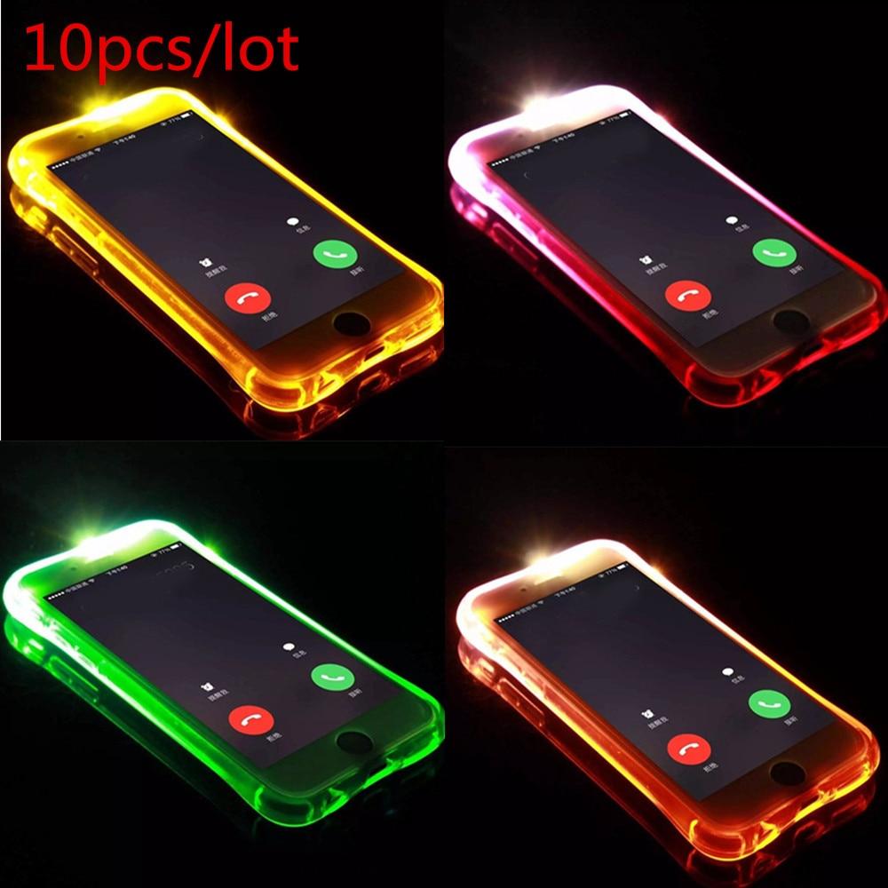 Цена за 10 шт. чехол для iPhone 5S 6S 5 6S 7 плюс Чехол светодиодная вспышка света до напомнить входящего вызова Чехол для iPhone 7 Plus 6 6S 5 5S