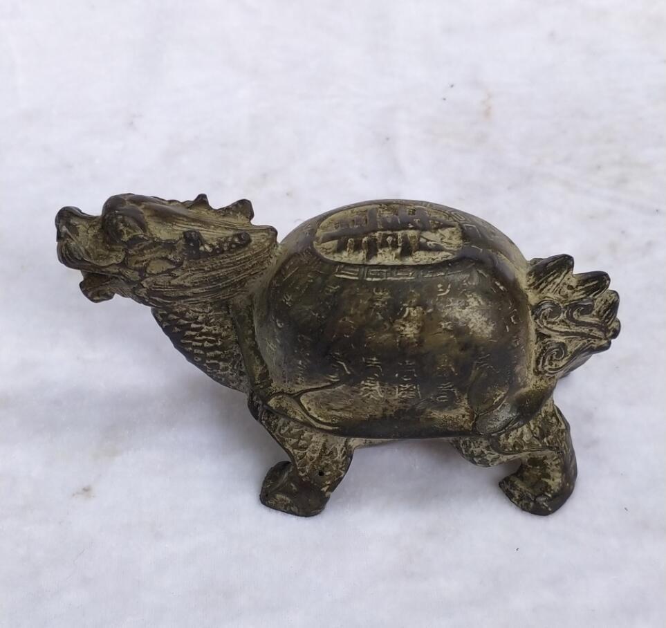 Collection chinois ancien Bronze sculpté Dragon tortue Sculpture décoration de la maison antique statue longue 13 CM/5.2 pouces