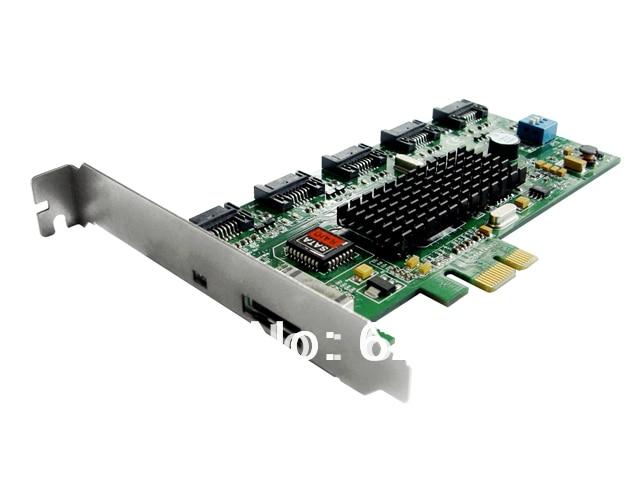 free shipping iocrest PCI-Express Interface to Five SATA+One eSATA Interface Raid card