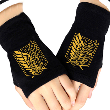 Fashion Knitted Gloves Anime Attack On Titan Survey Corps Fingerless Cotton Knitting Glove Cosplay Mittens Gants Femme Gift