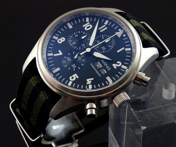 E1046 Parnis 42mm Stainless steel quartz Full chronograph mens watch Nylon strap