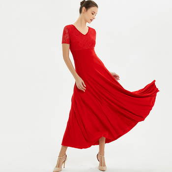 Standard Dance Dresses Lace Short Sleeve Woman Ballroom Dress Lady Waltz Flamenco Dancing Practice Performance Dancewear DN3280
