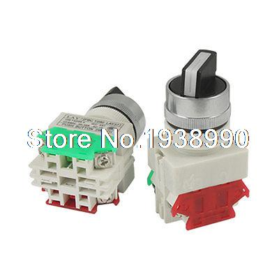 2 Pcs x Two 2 Position Rotary Select Selector Switch 1 NO 1 NC 10A 660V AC
