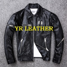 YR!Free shipping.Pakistan tanning sheepskin.motor biker style leather jacket,fashion slim genuine leather coat,plus size jacket