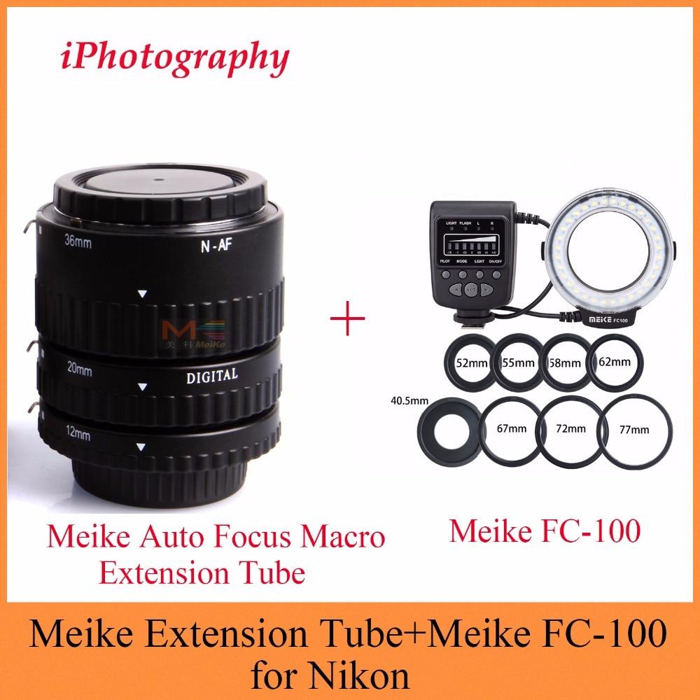 Meike Auto Focus Macro Extension Tube + Meike FC-100 LED Ring Flash Light Kit for Nikon meike 5500k 32 led white macro ring flash light for nikon dslr 4 x aa