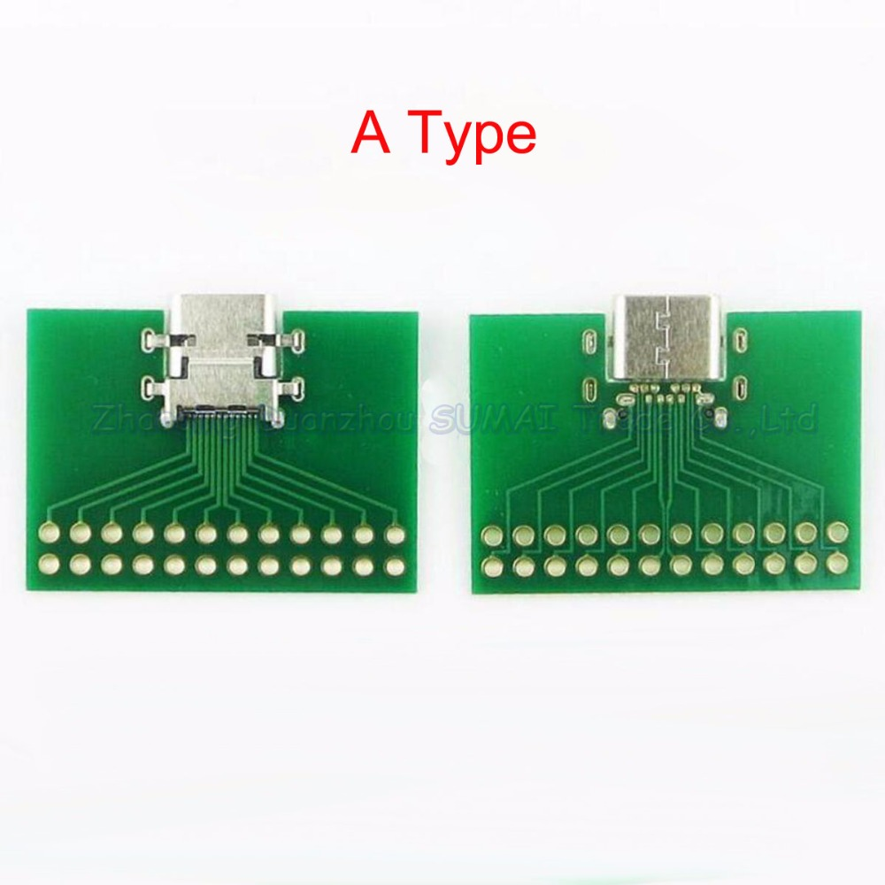 25pcs/lot USB 3.1 TYPE C Connector Female socket 24P Test board with PCB board
