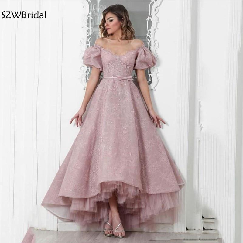 New Arrival Off the shoulder Lace   Evening     dress   Short sleeve   Evening   gown Dubai Kaftan Arabic   evening     dresses   vestidos elegantes