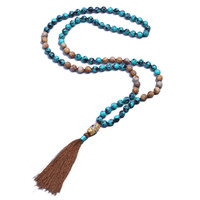 Fashion Boho Style Designer Necklace Women Turquoise Picture Jasper Beaded Long Tassel Necklace Jewelry Dropshipping Wholesalers