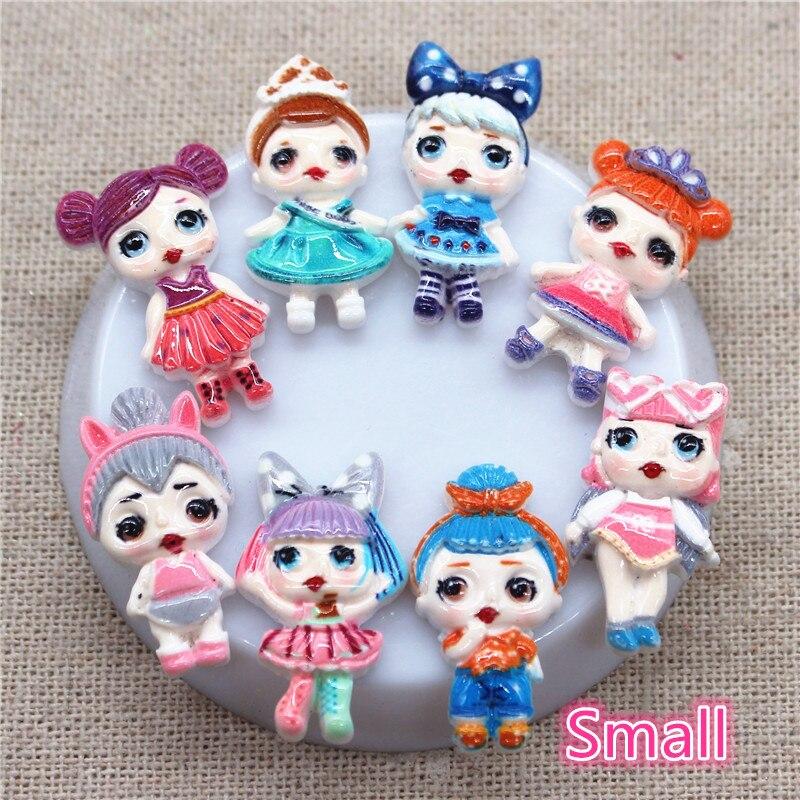 20pcs New Mix Designs Kawaii Resin Small Girls Miniature Art Flatback Cabochon DIY Craft Scrapbooking,high About 24mm