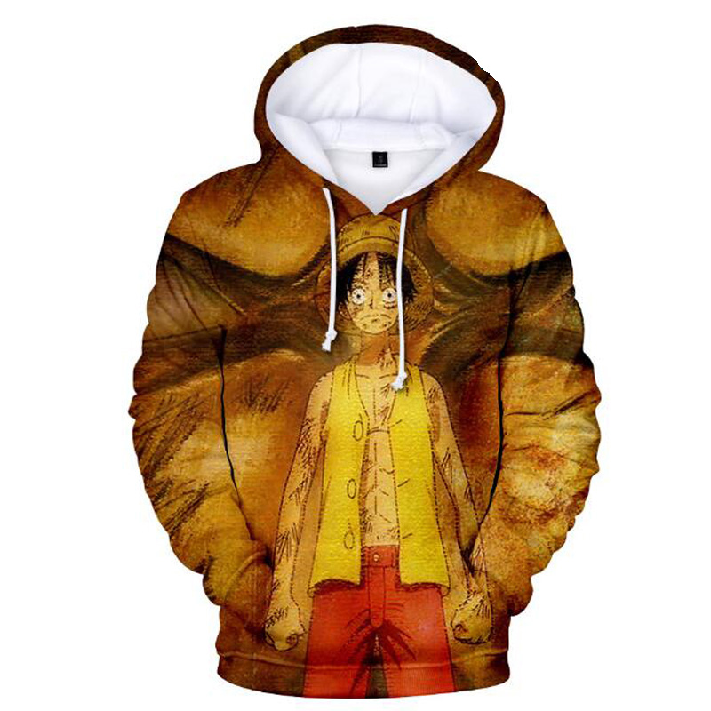 japan Anime One Piece 3D Print Mens Hoodies and Sweatshirts Boys Kids Monkey D Luffy Hip Hop Funny Hooded Jacket Male Tracksuit