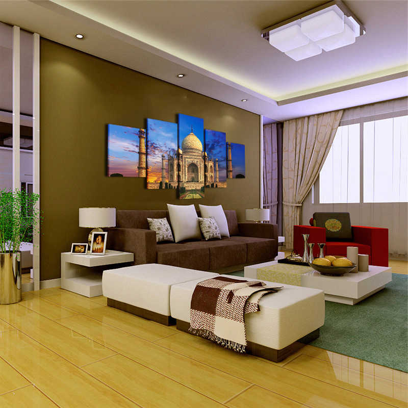 HD พิมพ์ผ้าใบ 5 แผง Taj Mahal ภาพวาดกรอบโปสเตอร์ตกแต่งบ้าน Wall Art รูปภาพ Modular สำหรับห้องนั่งเล่นไม่มีกรอบ