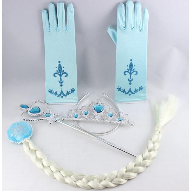 elsa deguisement 4 pcs accessoires ensemble couronne perruque baguette magique gant - Gants La Reine Des Neiges