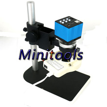 Cheaper Full set 14MP 3 in 1 TV HDMI USB Industry Digital Microscope Camera TF Card Output with Long distance lens for PCB LCD Lab New