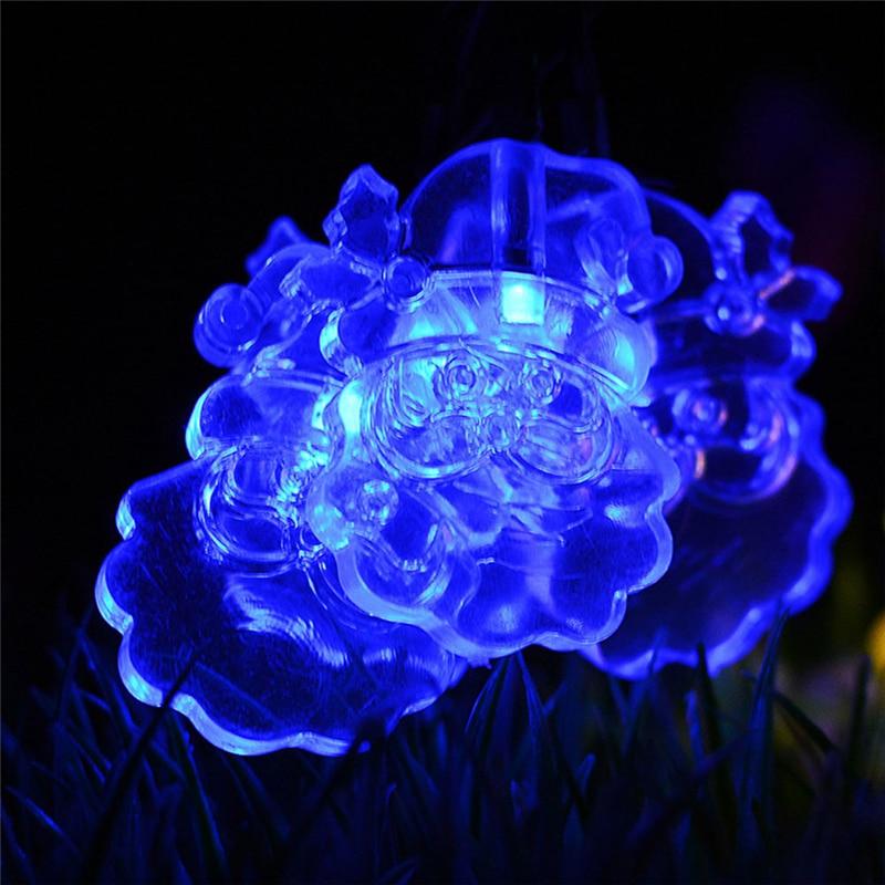 2017 Hot Selling 20LED Solar Santa Claus Lamp String Home Garden Christmas Decor Light Santa Claus Accessories Drop Shipping