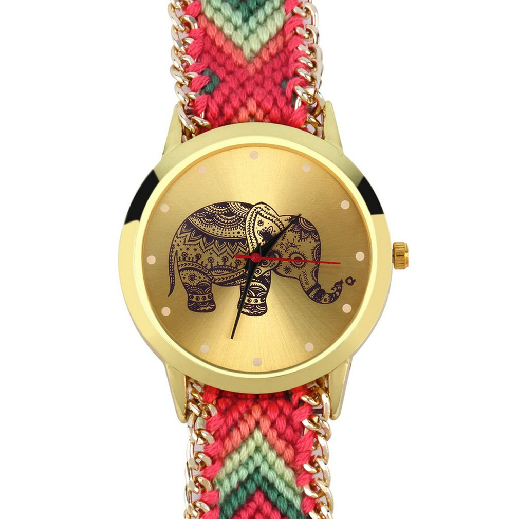 Women's Geneva Ethnic Cotton Blend Brand Handmade Braided Elephant Bracelet Watch Quarzt WristWatch Dress Watch