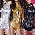 Новые Женщины Сексуальное Металл Отверстие Искусственной Кожи Повязки Комбинезон Боди Комбинезон Целом 7620