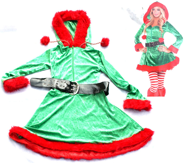 Free shipping,plush velvet adult Christmas party women christmas elf Santa Claus dress costume  clothes