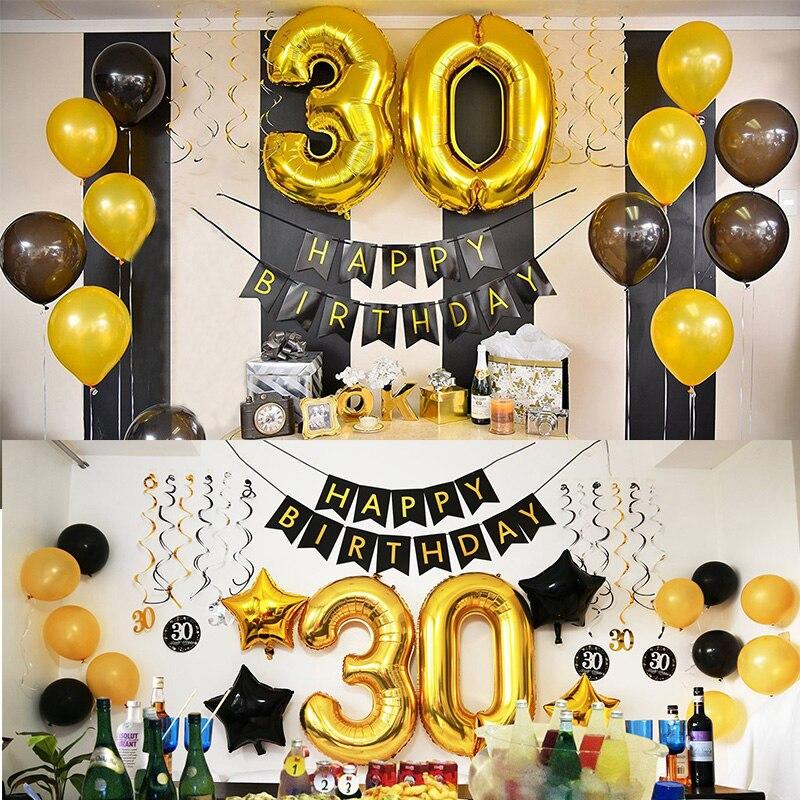 50 decorações de festa de aniversário, adulto 30 40 50 60 anos decoração feliz aniversário bandeira de número balão globos 50 aniversário do casamento