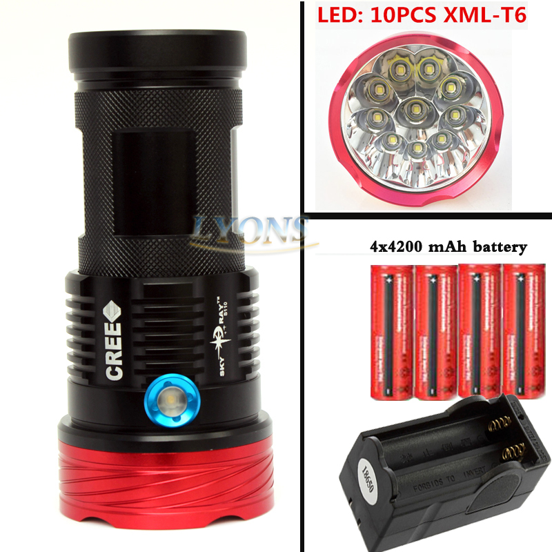 20000 lumens SKYRAY King 10 x  XM-L T6 LED Flashlight Torch Lamp Light For Hunting Camping+4 pcs 18650 battery+charger 20000 lumens skyray king 10 x cree xm l t6 led flashlight torch lamp light for hunting camping 4 pcs 18650 battery charger