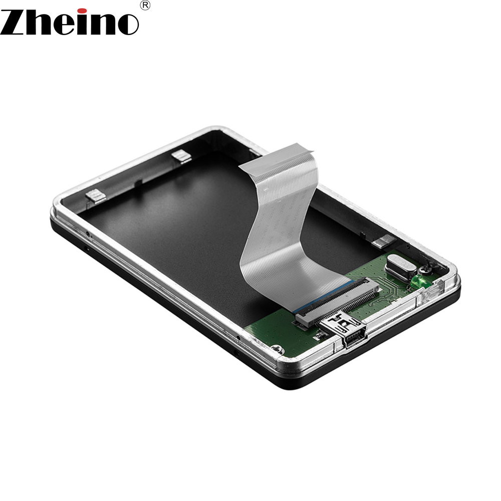 Zheino 1.8 Inch USB2.0 to ZIF Mobile HDD box HDD/SSD External Enclosure Case For 40PIN ZIF CE 5mm 8mm Hard Disk Drive USB2.0