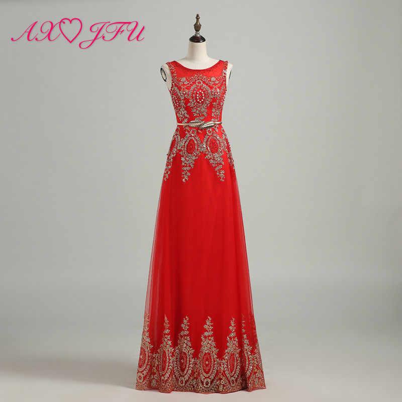 AXJFU красное кружево Бисероплетение Кристалл вечернее платье из жемчуга Новый стиль Золотой порошок Банкетный длинный принцесса Золотой кружевной вечернее свадебное платье