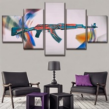 Canvas Game Counter-Strike Global Offensive AK-47 Paintings Poster HD Printed Home Decorative 5 Pieces Wall Art Modular Pictures