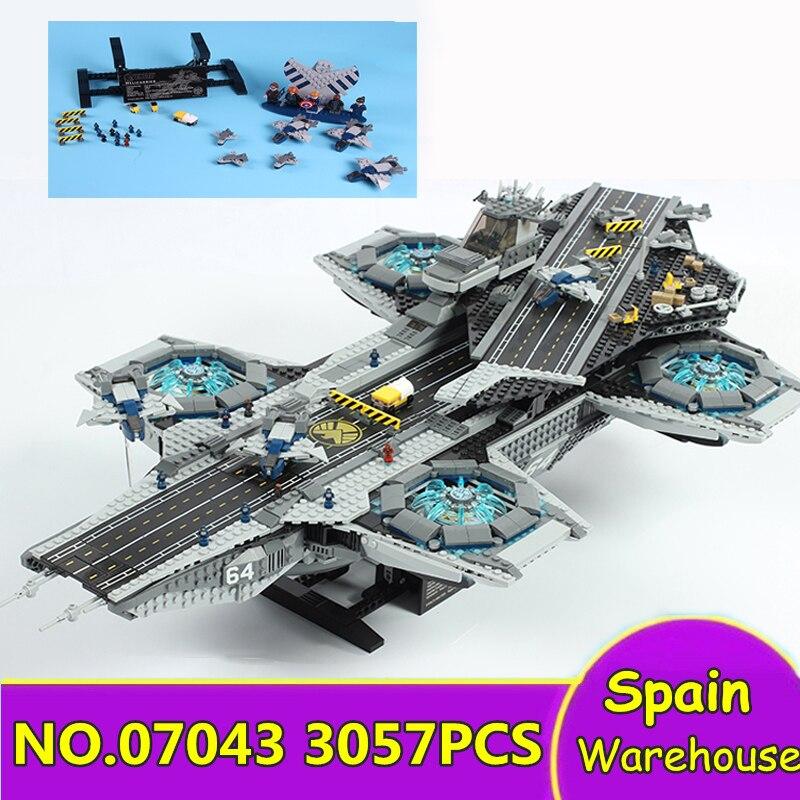 07043 The SHIELD Helicarrier 3057Pcs Avengers Super Heroes Building Blocks 76042 Star Wars Ship Gift Bricks