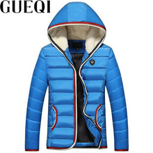 GUEQI Fur Hooded Men Warm Parkas Plus Size M-3XL Red Patchwork Design Man Winter Fashion Black Jackets Casual Outerwear
