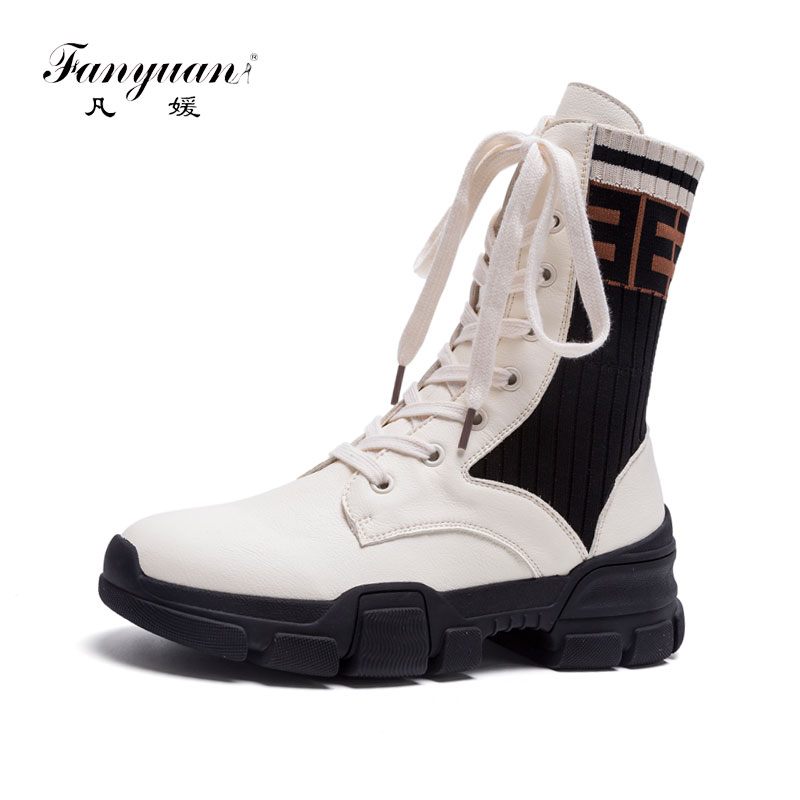 Fanyuan Autumn Shoes Womens Boots Fashion Genuine Leather Lace-Up Mid-Calf Boots Cool Mixed Colors Flat Platform Western BootsFanyuan Autumn Shoes Womens Boots Fashion Genuine Leather Lace-Up Mid-Calf Boots Cool Mixed Colors Flat Platform Western Boots